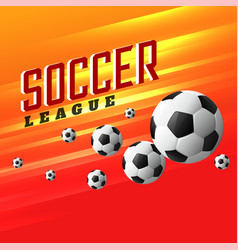 soccer league sports background with flying vector image