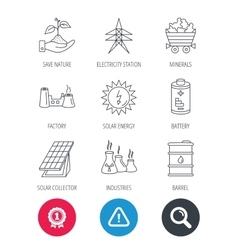 Solar collector energy battery and oil barrel vector