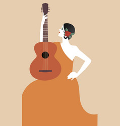 spanish woman with guitar symbolic image spain vector image