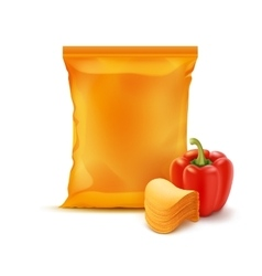 Stack Chips with Paprika and Orange Bag Isolated vector