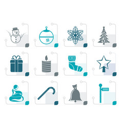 stylized beautiful christmas and winter icons vector image