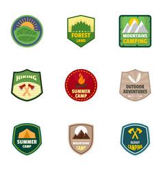 summer camp logo emblem set flat style vector image