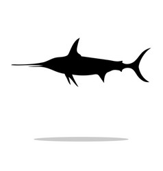 swordfish fish black silhouette aquatic animal vector image