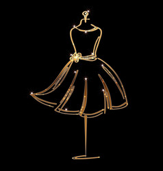 Tailor dummy fashion icon on black background vector
