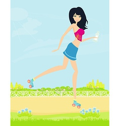 Teen girl having fun on roller skates in park vector
