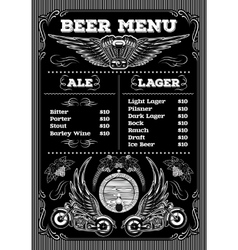Template for the beer menu on black background vector