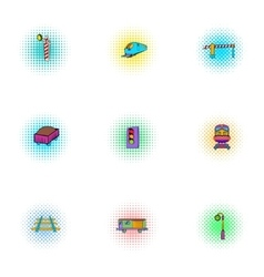 Train icons set pop-art style vector