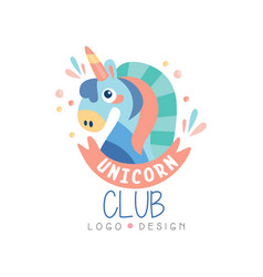 Unicorn club logo design emblem can be used for vector