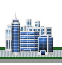 Urban landscape with big modern buildings smart vector