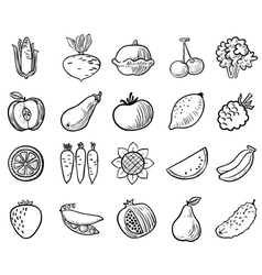 vegetables and fruits icons set vector image