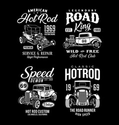 Vintage hot rod graphic t-shirts collection vector