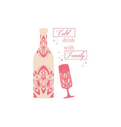 Vintage indian red glass and bottle vector