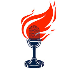 Vintage microphone on fire hot mic in flames vector