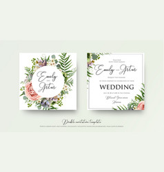Wedding art trendy floral invitation card design vector