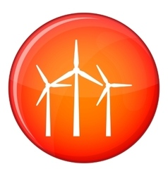 Wind turbines icon flat style vector image