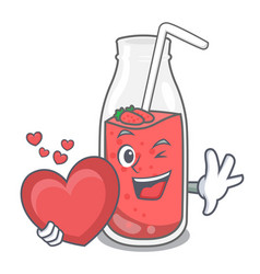 With heart strawberry smoothie mascot cartoon vector