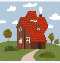 wooden house with trees and bushes summer vector image