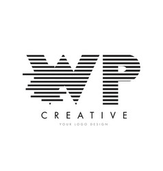 Wp w p zebra letter logo design with black and vector
