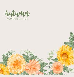 Yellow autumn flowers vector
