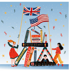 young people with books british and american vector image
