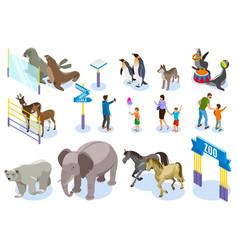 zoo isometric icon set vector image