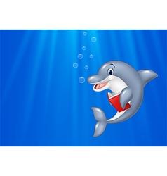 Cartoon dolphin reading book with deep sea vector image vector image