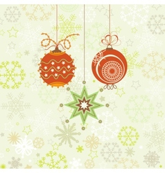 Christmas ornaments in red and green snowflakes vector image vector image