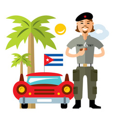 cuba travel concept flat style colorful vector image vector image
