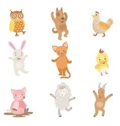 Humanized Animals Collection Of Artistic Funny vector image vector image
