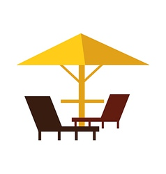 Parasol and three chairs vector image vector image