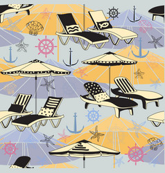 summer beach seamless pattern lounge chair vector image