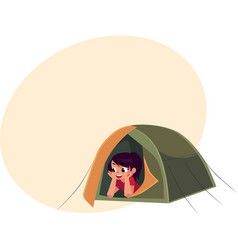 teenage girl looking out of tourist tent camping vector image vector image