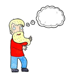 Cartoon excited bearded man with thought bubble vector