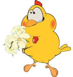 Chicken and flowers cartoon vector image
