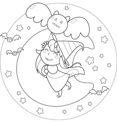 Coloring Halloween flying witch with balloon vector image vector image