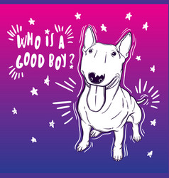 Cute with bullterrier home vector