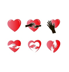 hands with heart icon set vector image vector image