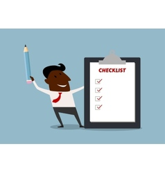 Happy businessman completing a checklist vector image vector image