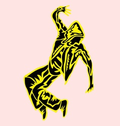 Hip Hop Dance in Abstract Silhouette vector image