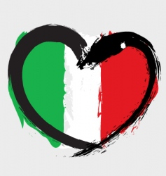 Italian heart shape flag vector image