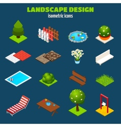 Landscape Design Isometric Icons vector image vector image
