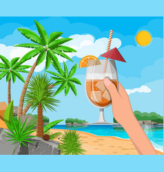 landscape of palm tree on beach cocktail vector image