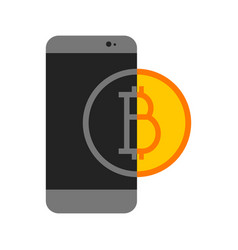 simple bitcoin mobile transfer graphic vector image