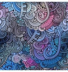 Abstract decorative doodles music seamless pattern vector