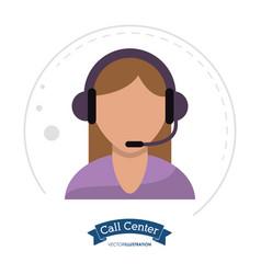 call center woman operator design vector image vector image