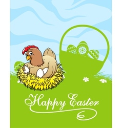 Happy easter card with hen and basket with easter vector image