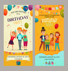 Kids party invitation banners set vector