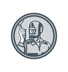 Welder Fabricator Holding Welding Torch Retro vector image