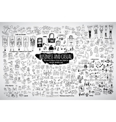 Big bundle business casual doodles icons and vector image vector image