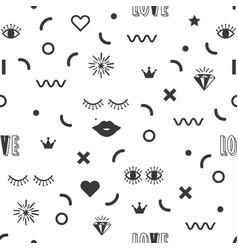 black silhouette feminine fun symbol icons pattern vector image